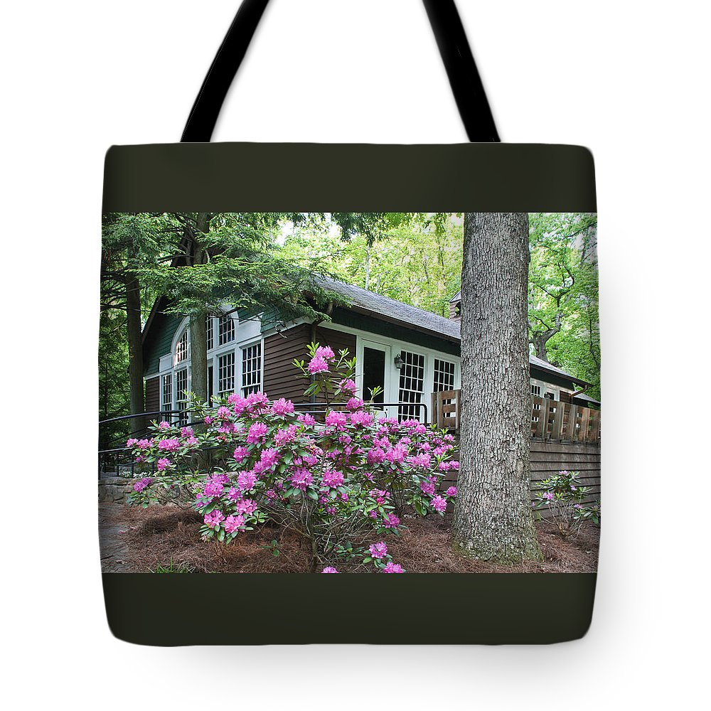 Signal Mountain Tote Bag featuring the photograph Little Brown Church In Spring by Tom and Pat Cory