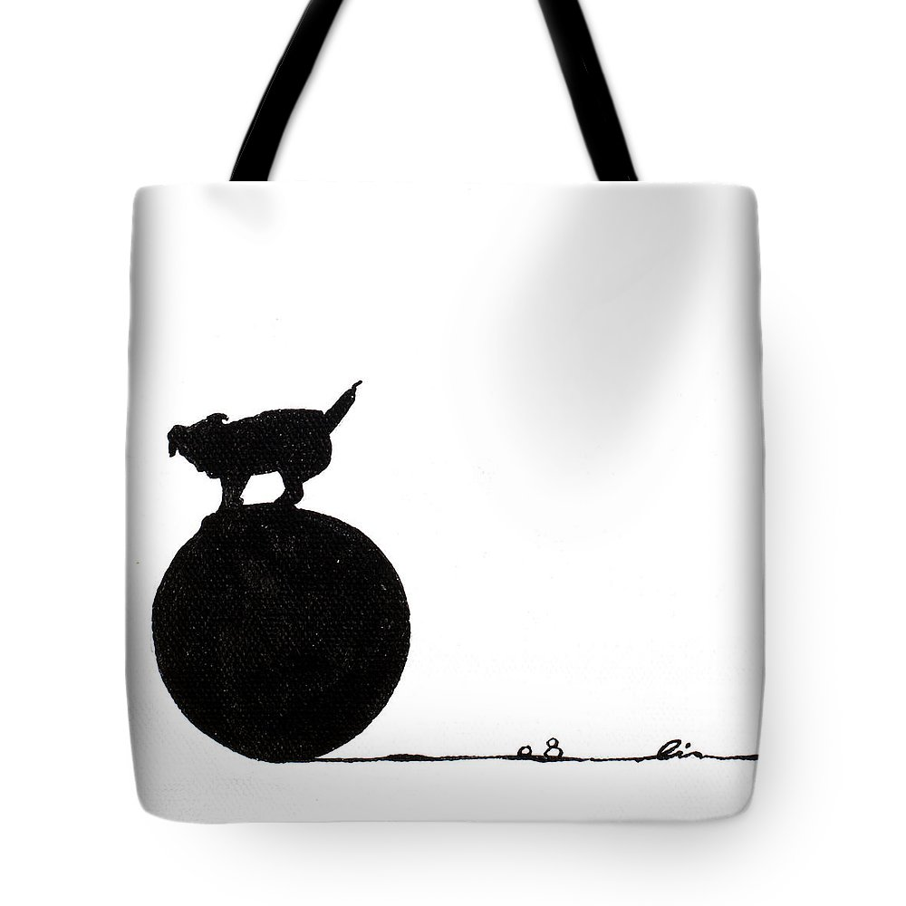Little Tote Bag featuring the painting Little Dogs Doing Tricks On Little Canvas by Cindy D Chinn