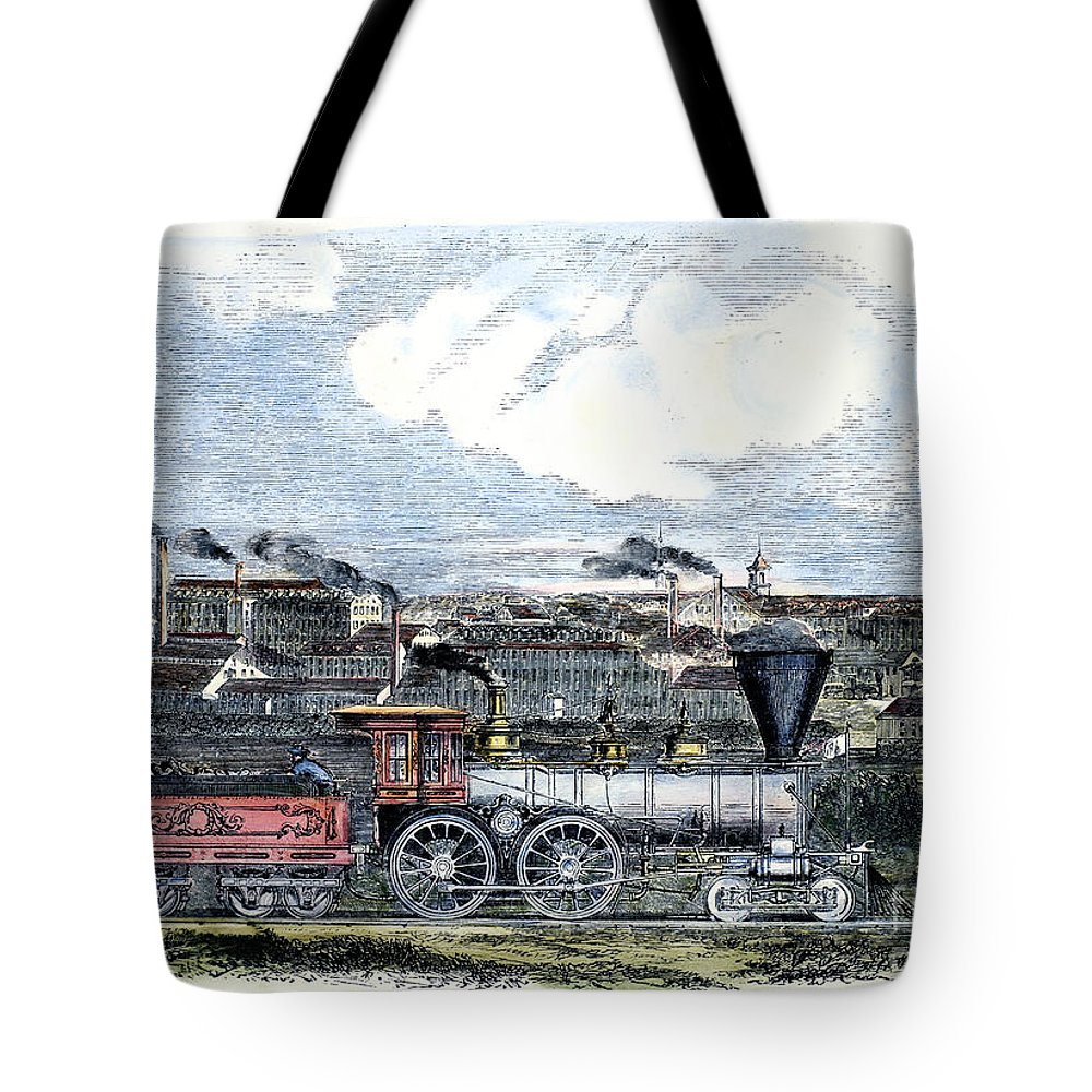 1855 Tote Bag featuring the photograph Locomotive Factory, C1855 by Granger