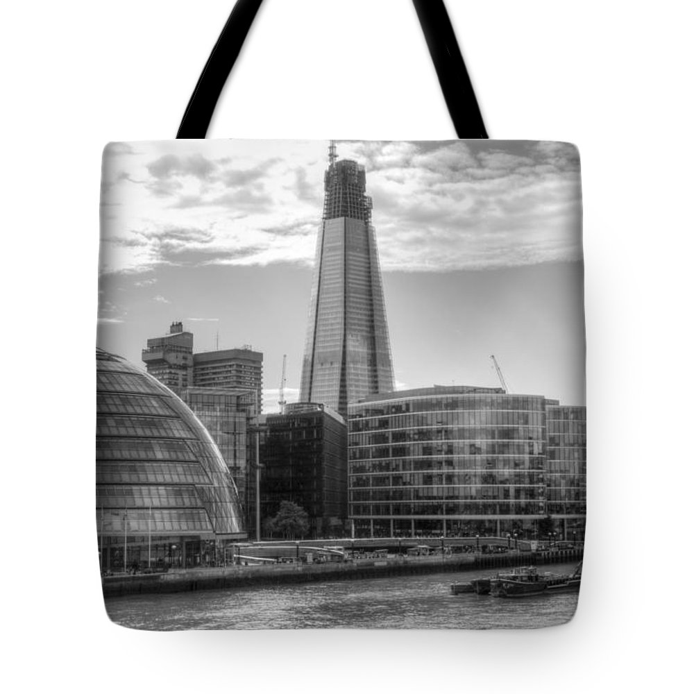 Shard Tote Bag featuring the photograph London Assembly and Shard by Chris Day