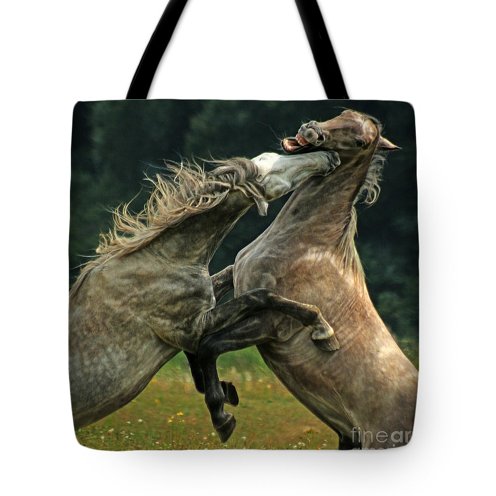 Lippizzan Horses Tote Bag featuring the photograph Love Bite by Angel Ciesniarska