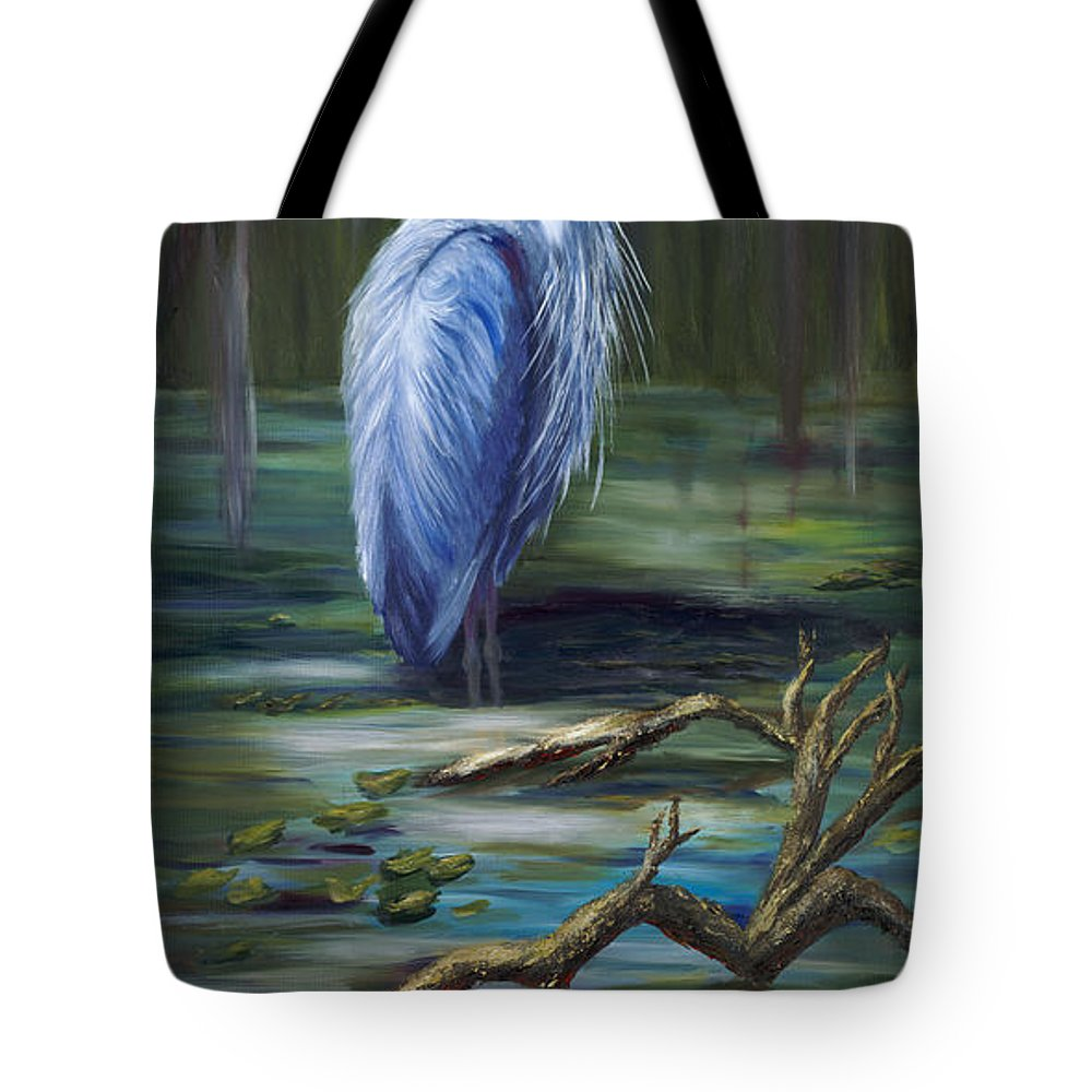 Blue Heron Tote Bag featuring the painting Marsh Master by Marlyn Boyd