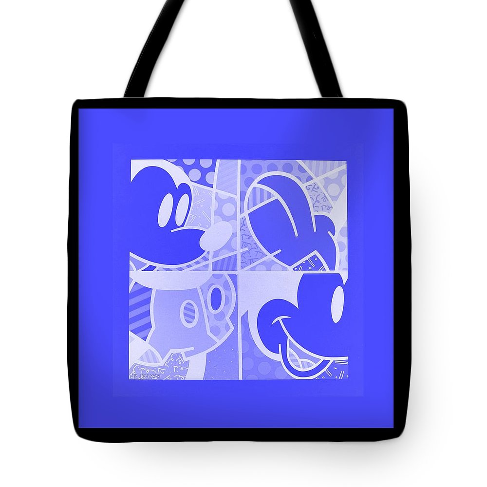 Mickey Mouse Tote Bag featuring the photograph Mickey In Negative Light Blue by Rob Hans