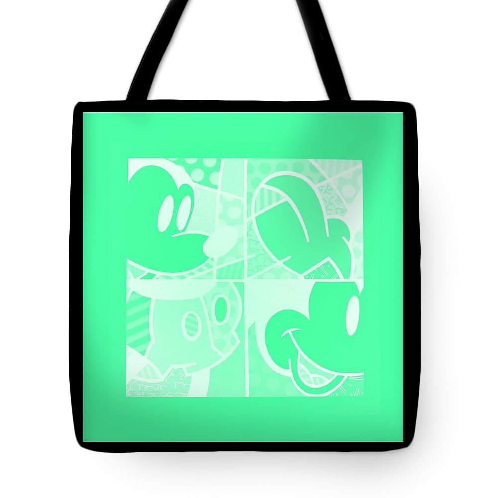 Mickey Mouse Tote Bag featuring the photograph Mickey In Negative Light Green by Rob Hans