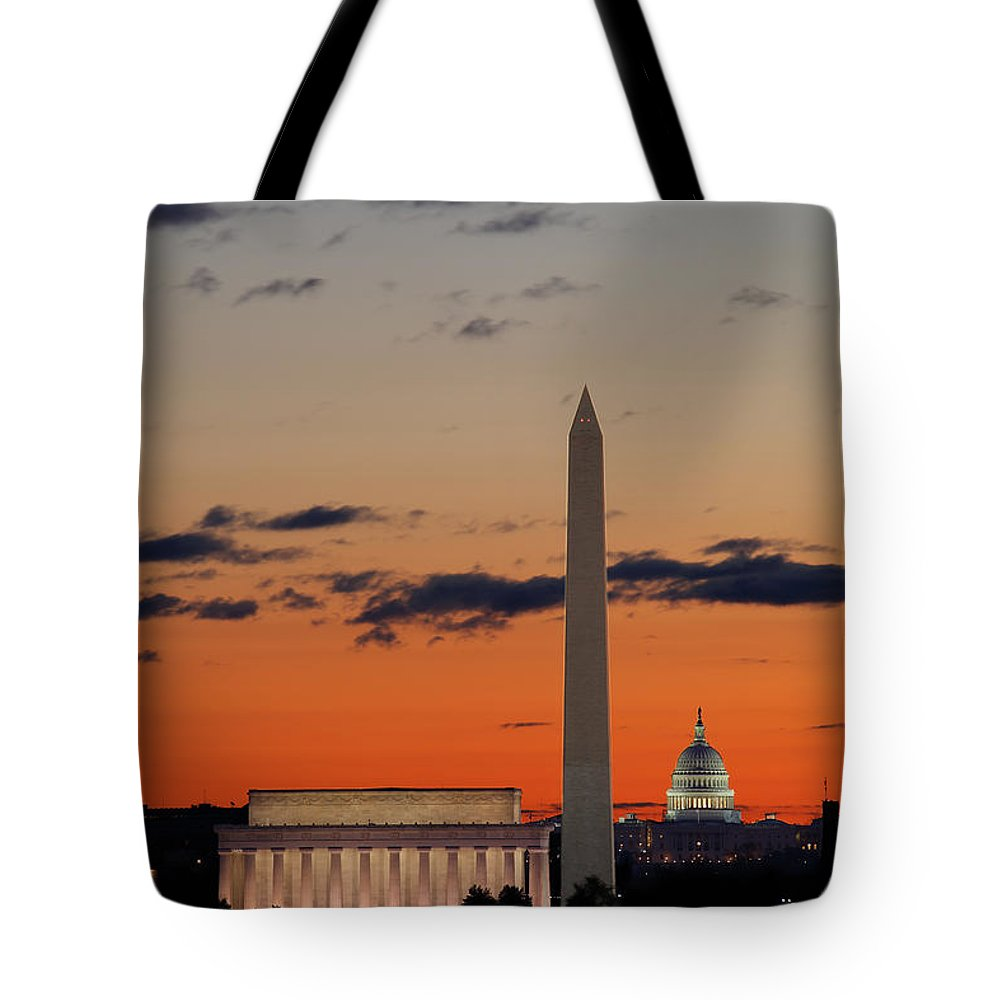 Metro Tote Bag featuring the photograph Monuments At Sunrise by Metro DC Photography
