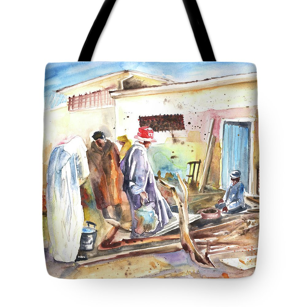 Travel Tote Bag featuring the painting Moroccan Market 02 by Miki De Goodaboom
