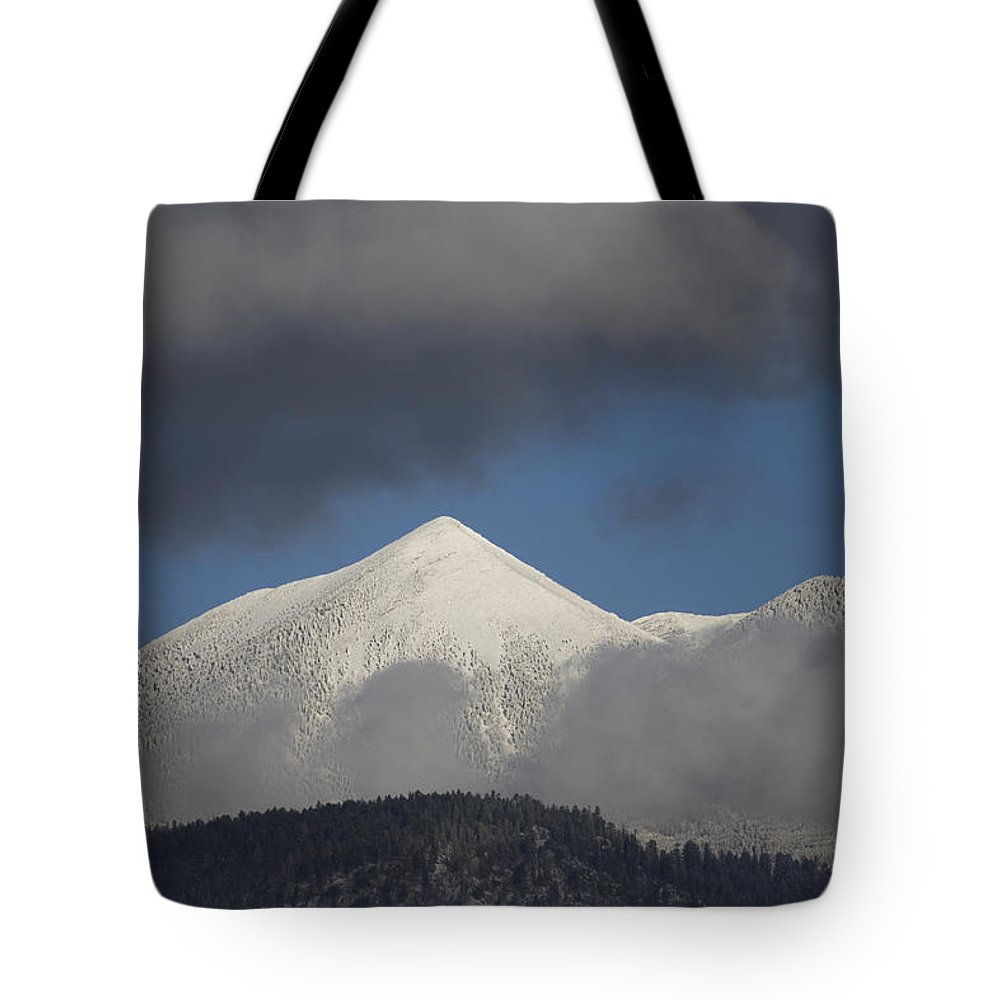 Mountain Tote Bag featuring the photograph Mt Humphreys Covered In Snow by John Burcham
