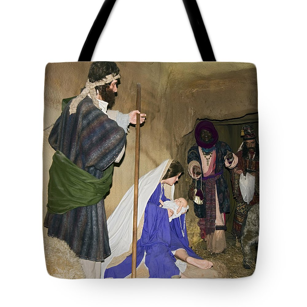 Nativity Scene Tote Bag featuring the photograph Nativity by Sally Weigand