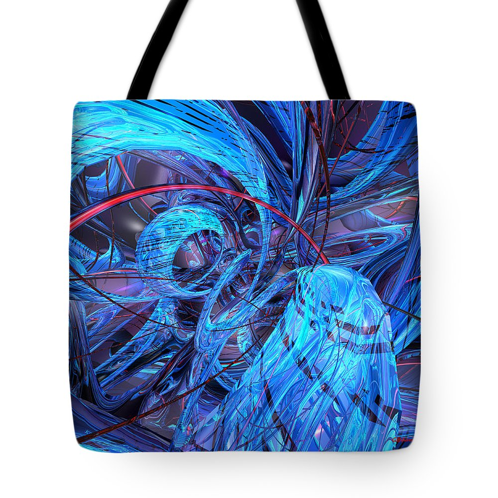 Canvas Tote Bag featuring the digital art Neon Abstract Fx by G Adam Orosco