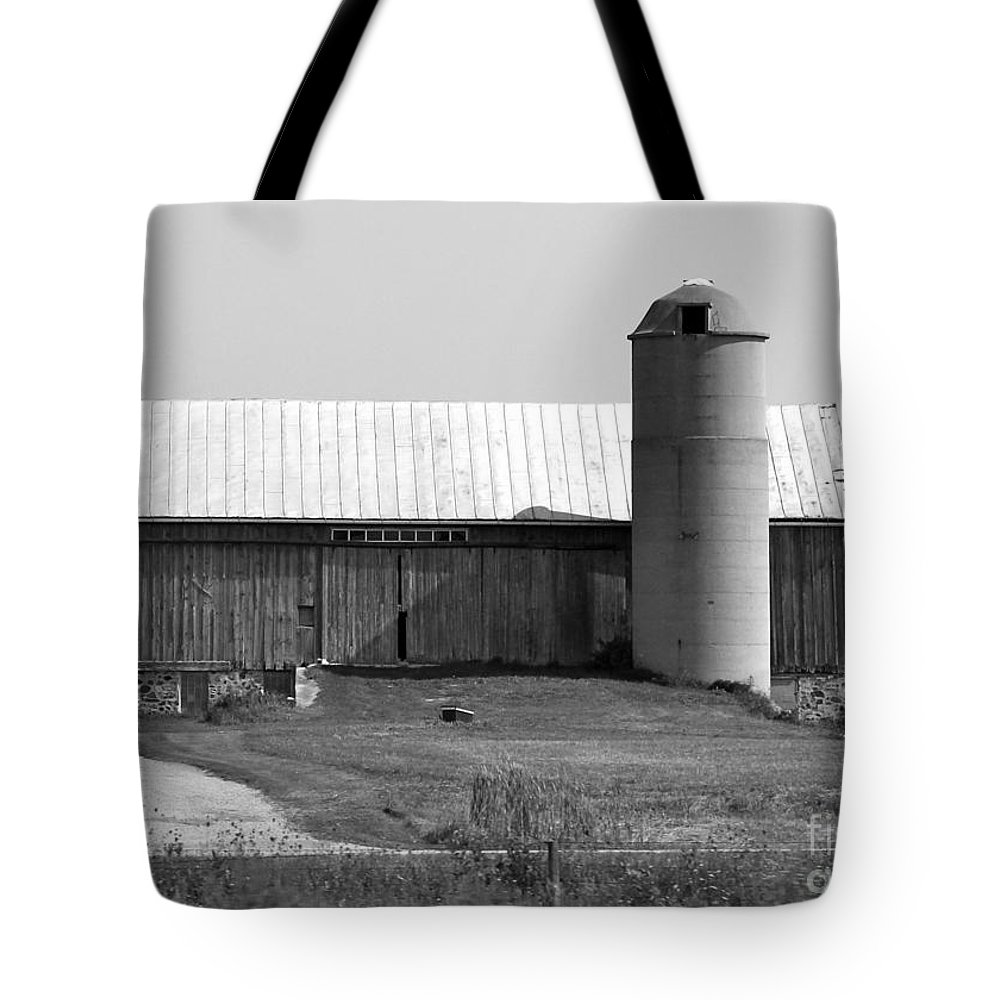 Old Barn And Silo Tote Bag featuring the photograph Old Barn And Silo by Pamela Walrath