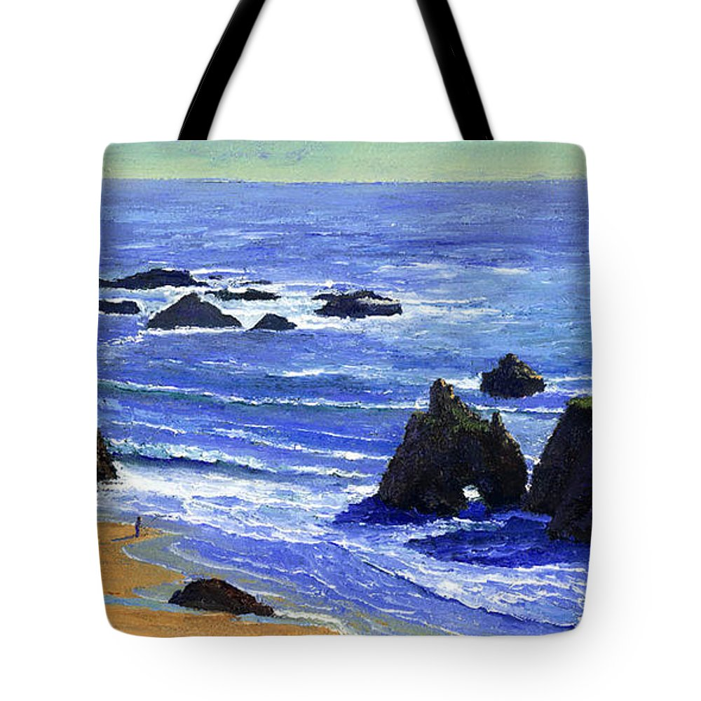 Pacific Tote Bag featuring the painting Pacific Solitude by Frank Wilson