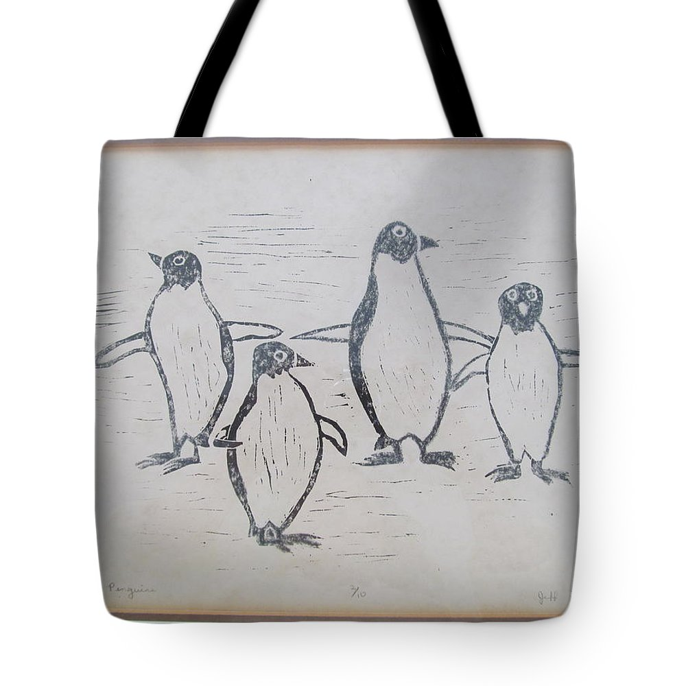 Tote Bag featuring the painting Penguins by Tina M Wenger