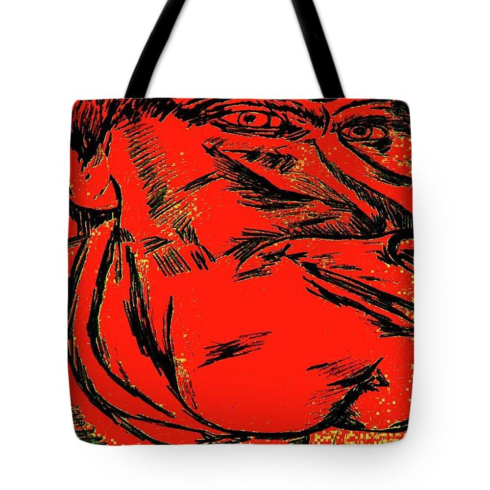Kevin Jeffery Tote Bag featuring the drawing Plop by Karen Elzinga