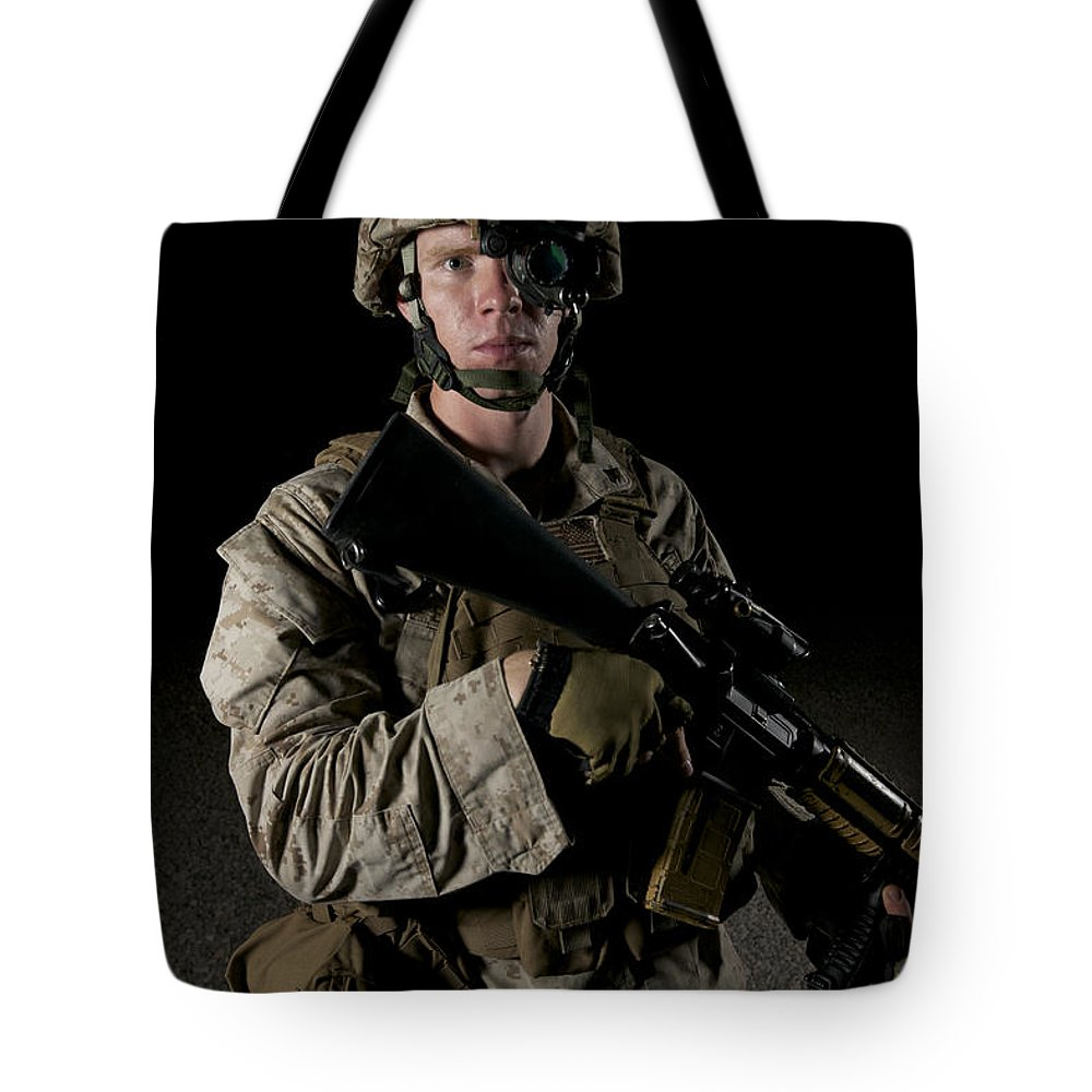 Operation Enduring Freedom Tote Bag featuring the photograph Portrait Of A U.s. Marine Wearing Night by Terry Moore