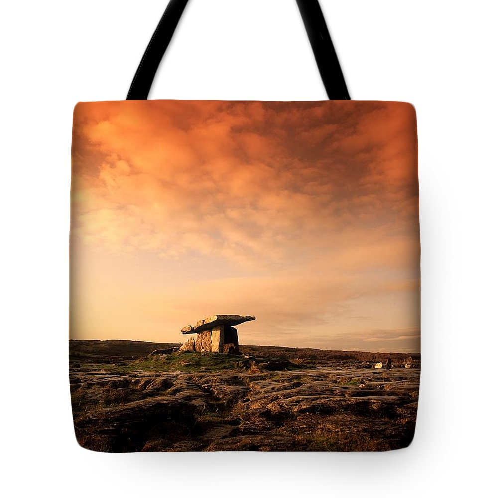 Archeology Tote Bag featuring the photograph Poulnabrone Dolmen, The Burren, Co by The Irish Image Collection