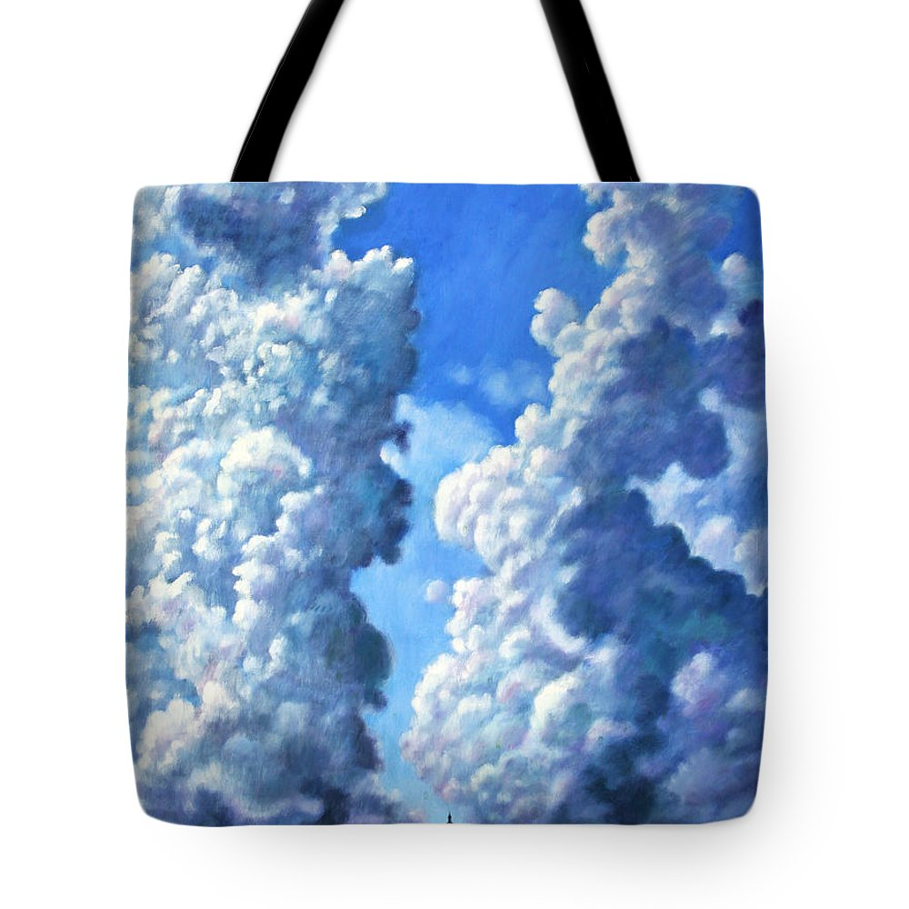 Clouds Tote Bag featuring the painting Powering Up by John Lautermilch