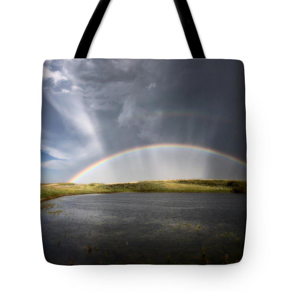Hail Tote Bag featuring the photograph Prairie Hail Storm And Rainbow by Mark Duffy