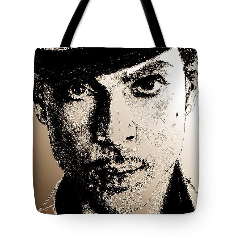 Prince Tote Bag featuring the digital art Prince Nelson In 2006 by J McCombie