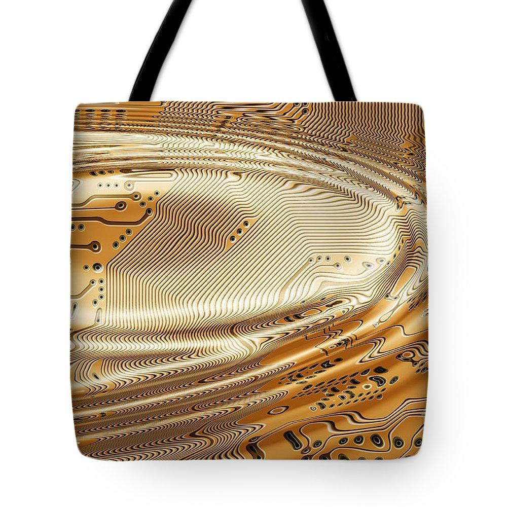 Printed Tote Bag featuring the digital art Printed Circuit by Michal Boubin