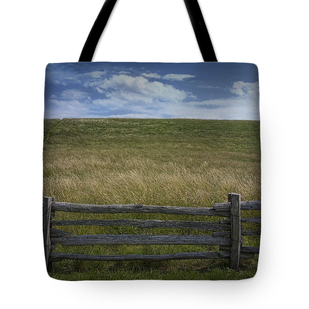 Art Tote Bag featuring the photograph Rail Fence And Field Along The Blue Ridge Parkway by Randall Nyhof