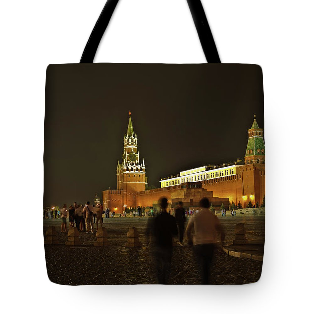 Kremlin Tote Bag featuring the photograph Red Square In Moscow At Night by Michael Goyberg