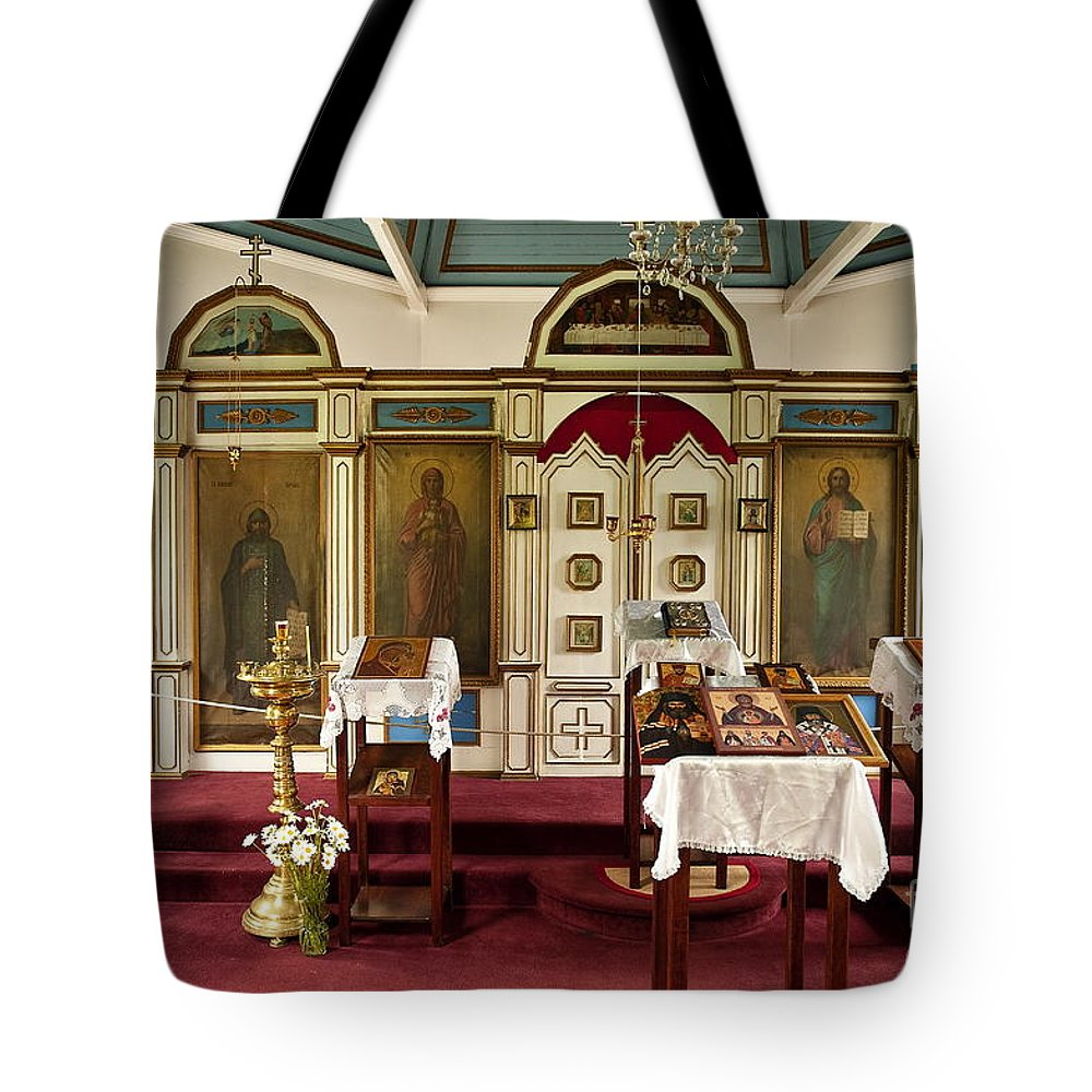 Alaska Tote Bag featuring the photograph Russian Orthodox Church by John Greim