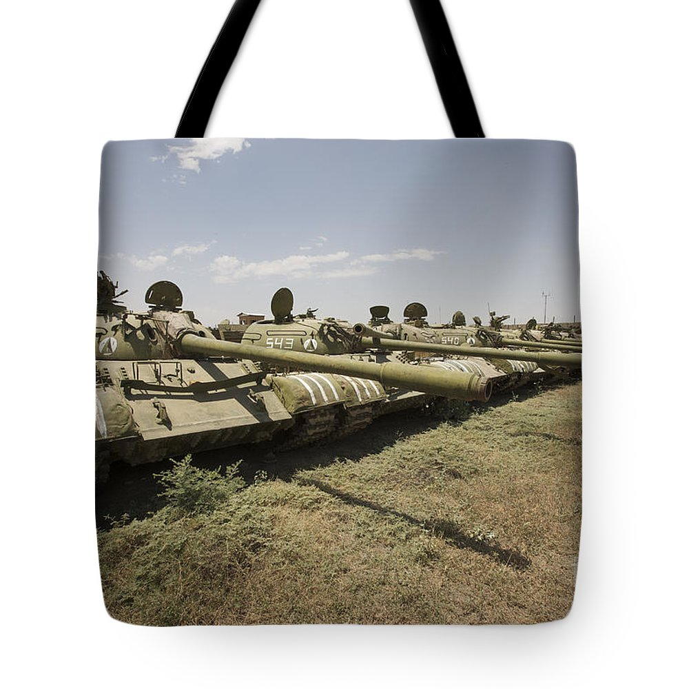 Turret Tote Bag featuring the photograph Russian T-54 And T-55 Main Battle Tanks by Terry Moore