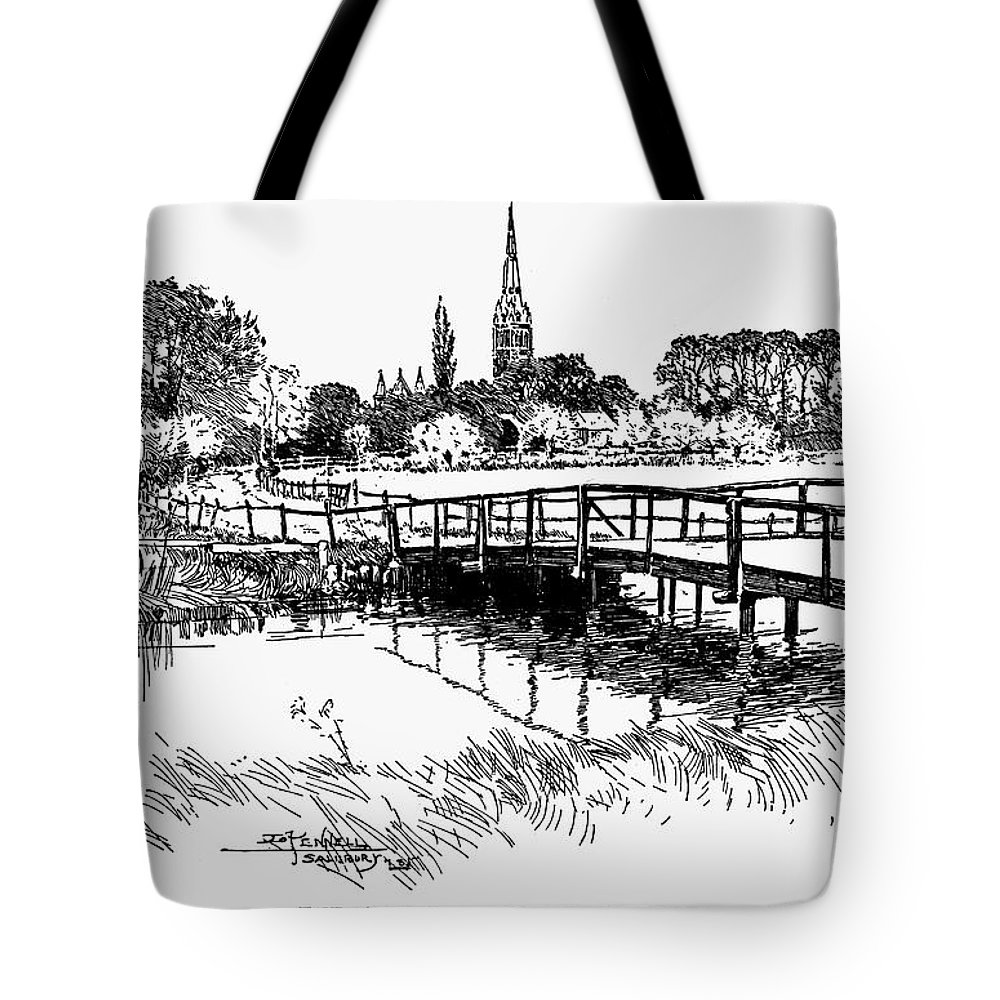 19th Century Tote Bag featuring the photograph Salisbury Cathedral by Granger