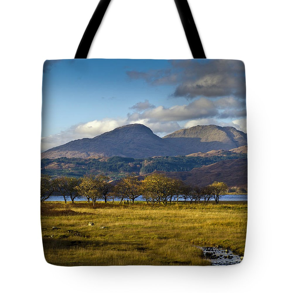Aodann Chleireig Tote Bag featuring the photograph Scottish Landscape View by Gary Eason