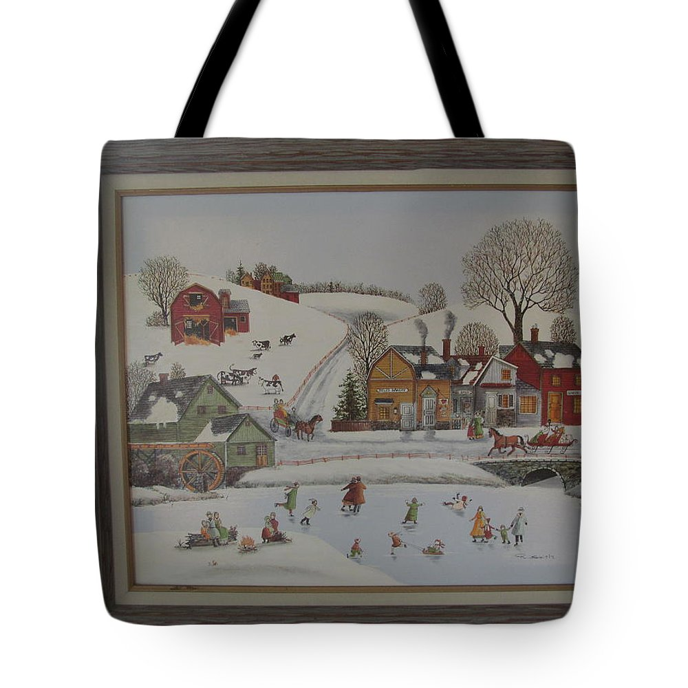 Tote Bag featuring the painting Skating On Frozen Pond by Tina M Wenger