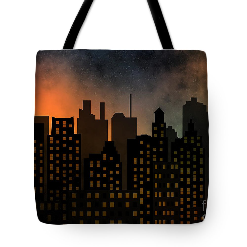 Modern Tote Bag featuring the digital art Skyscrapers by Michal Boubin