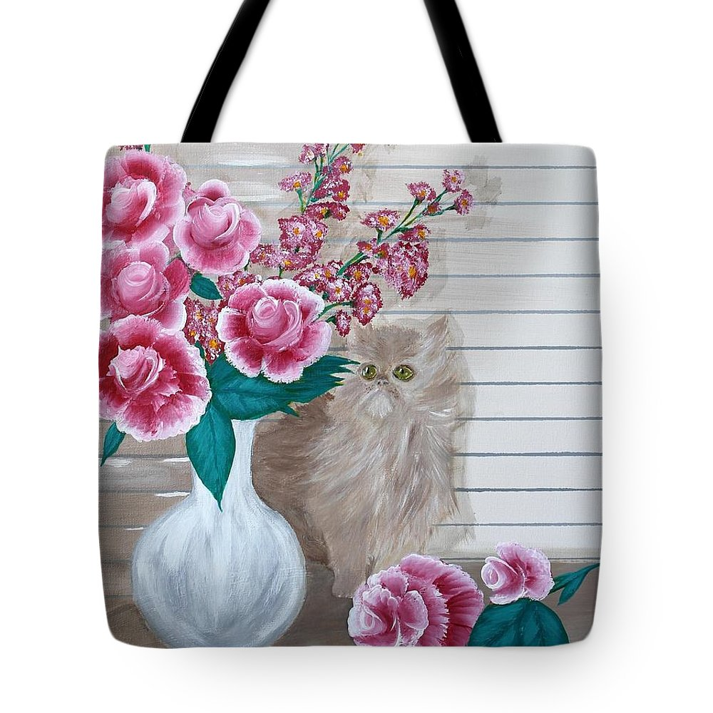 Kitten Tote Bag featuring the painting Sneaky Kitten by Debbie Levene