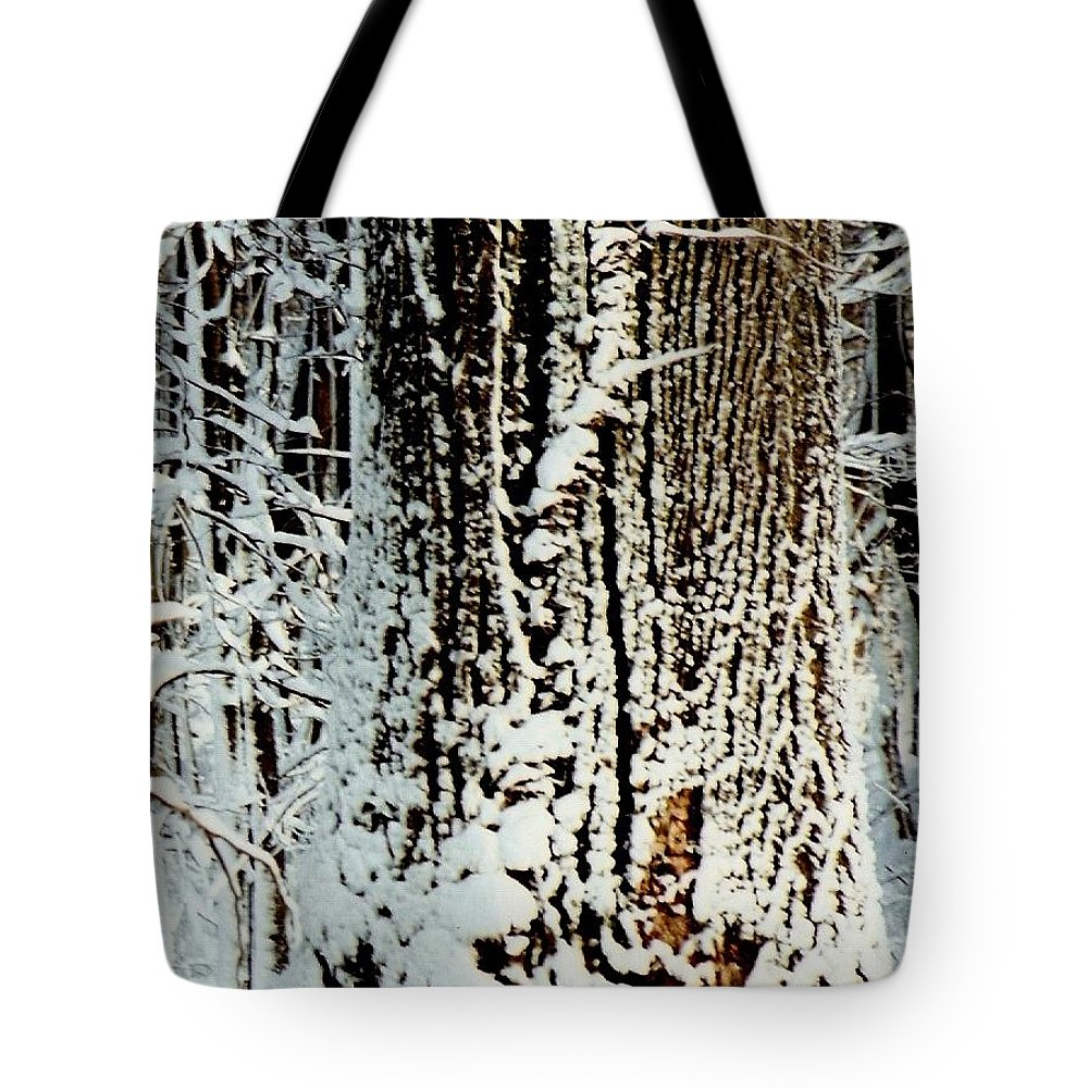 Snow Tote Bag featuring the photograph Snowy Woods by Deborah M Rinaldi