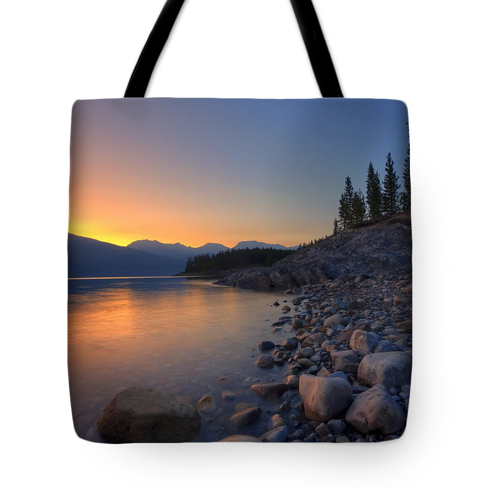 Alberta Tote Bag featuring the photograph Summer Sunrise On Abraham Lake by Dan Jurak