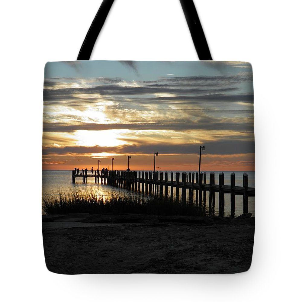 Sunset Tote Bag featuring the photograph Sunset Cape Charles Virginia by Sven Migot