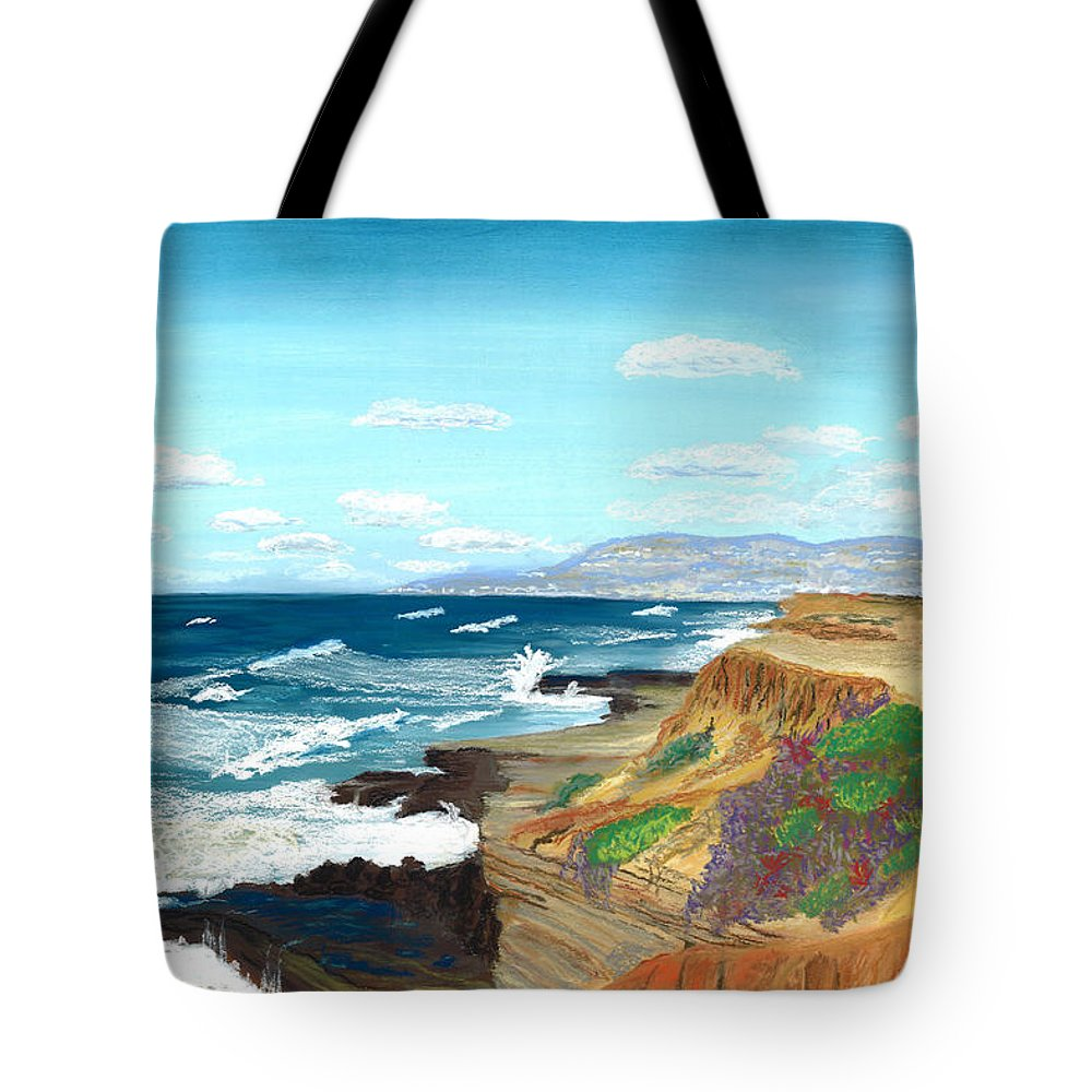 Sunset Cliffs Tote Bag featuring the drawing Sunset Cliffs by Jackie Novak
