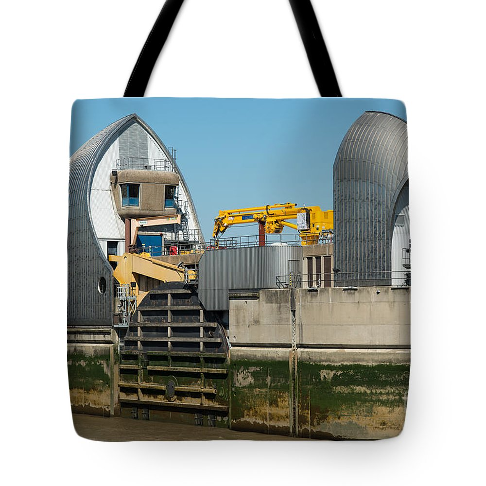 British Tote Bag featuring the photograph Thames Barrier by Andrew Michael