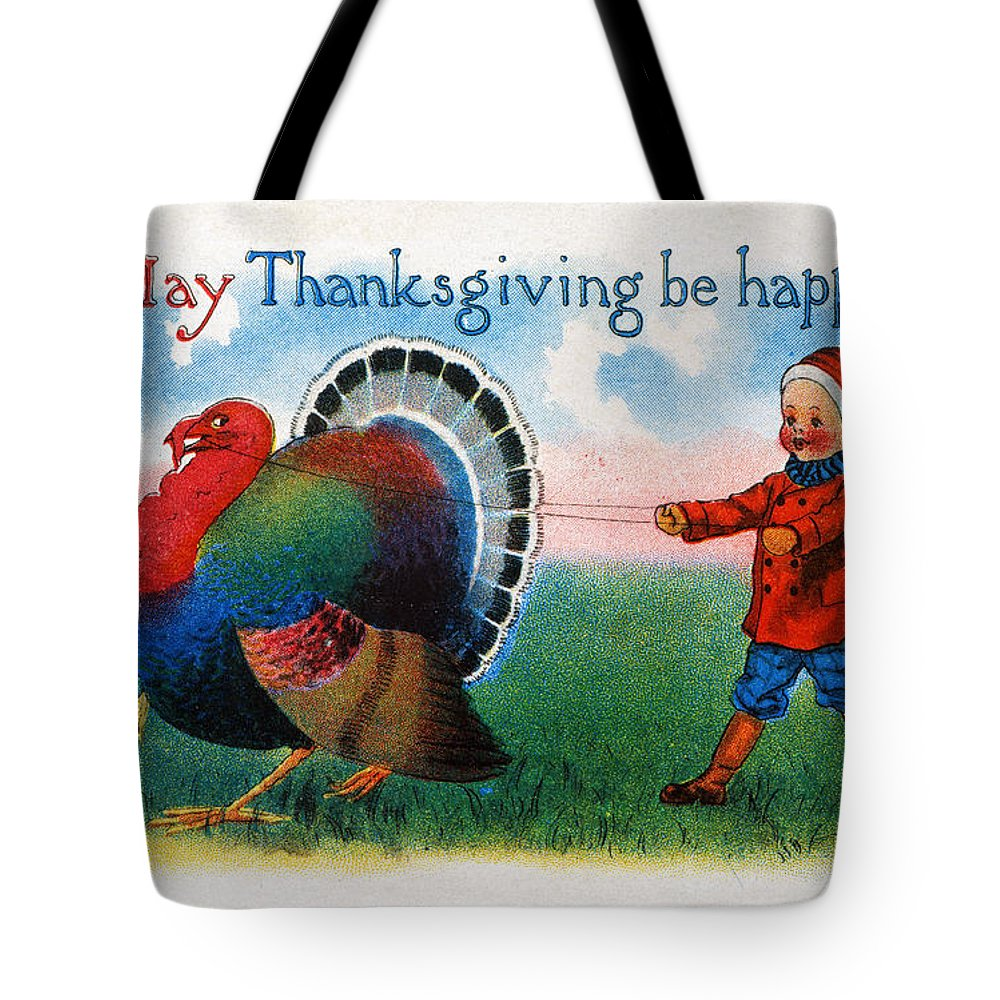 1900 Tote Bag featuring the photograph Thanksgiving Card, 1900 by Granger
