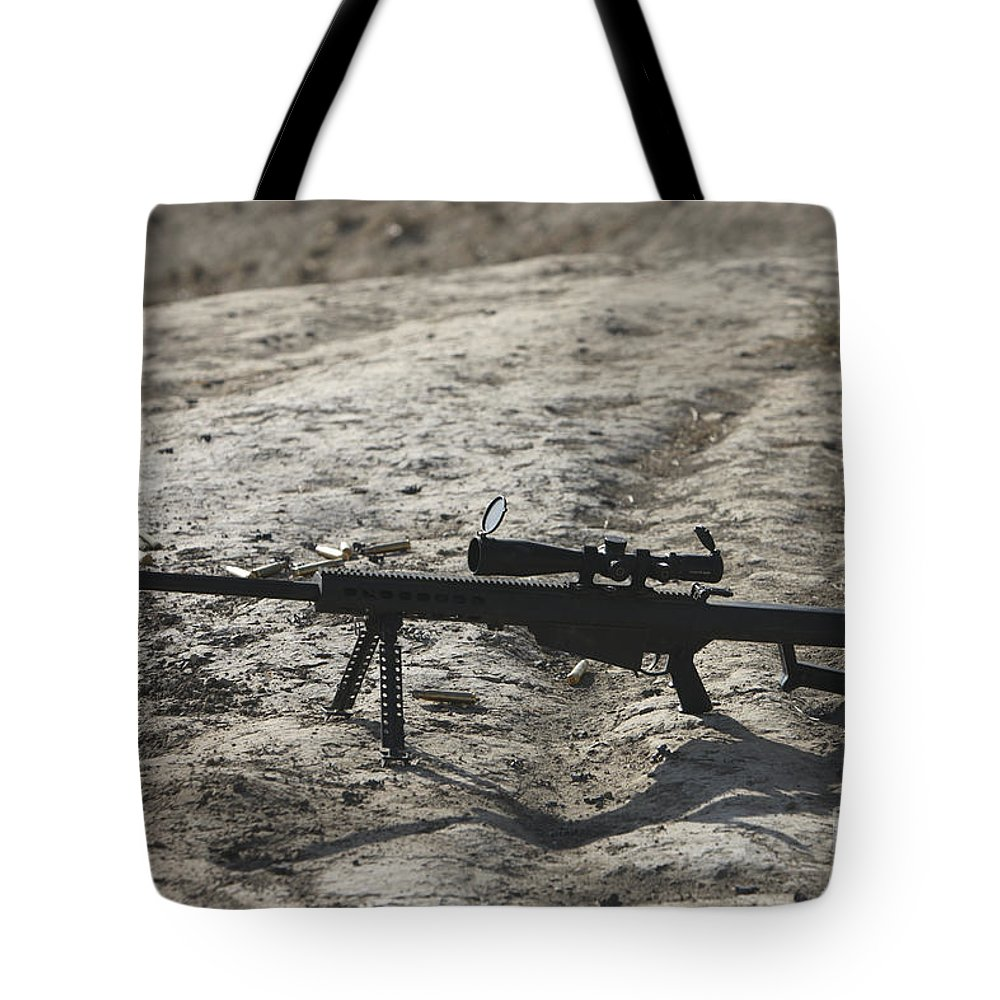Afghanistan Tote Bag featuring the photograph The Barrett M82a1 Sniper Rifle by Terry Moore
