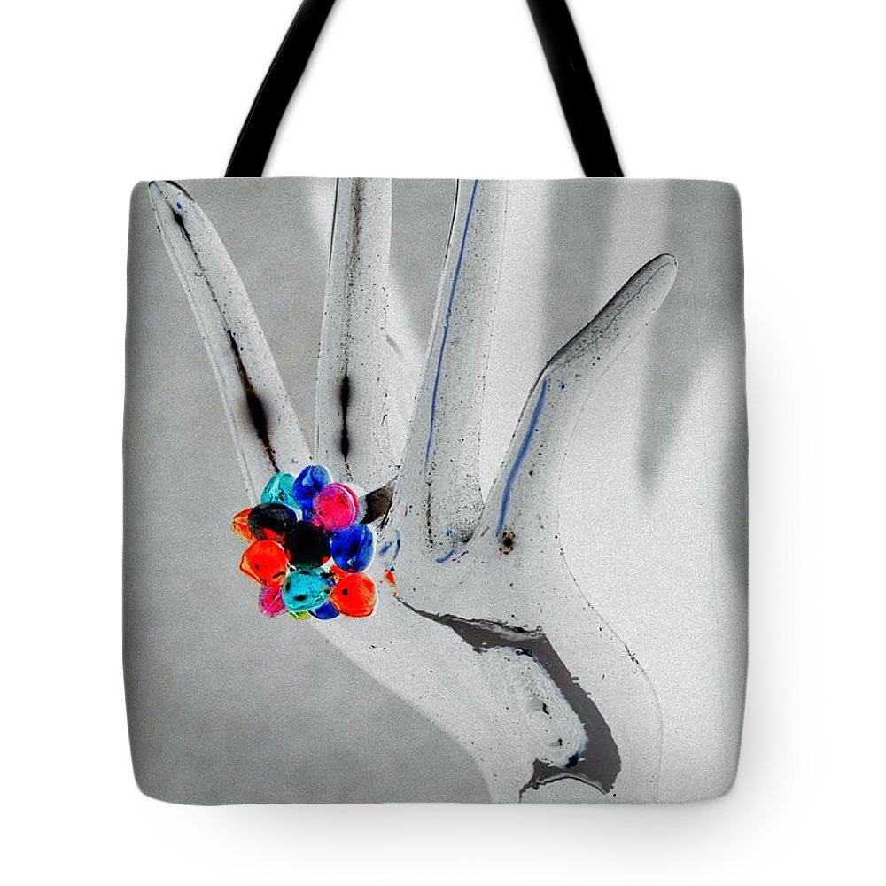 Hand Tote Bag featuring the photograph The Black Hand In Negative by Rob Hans