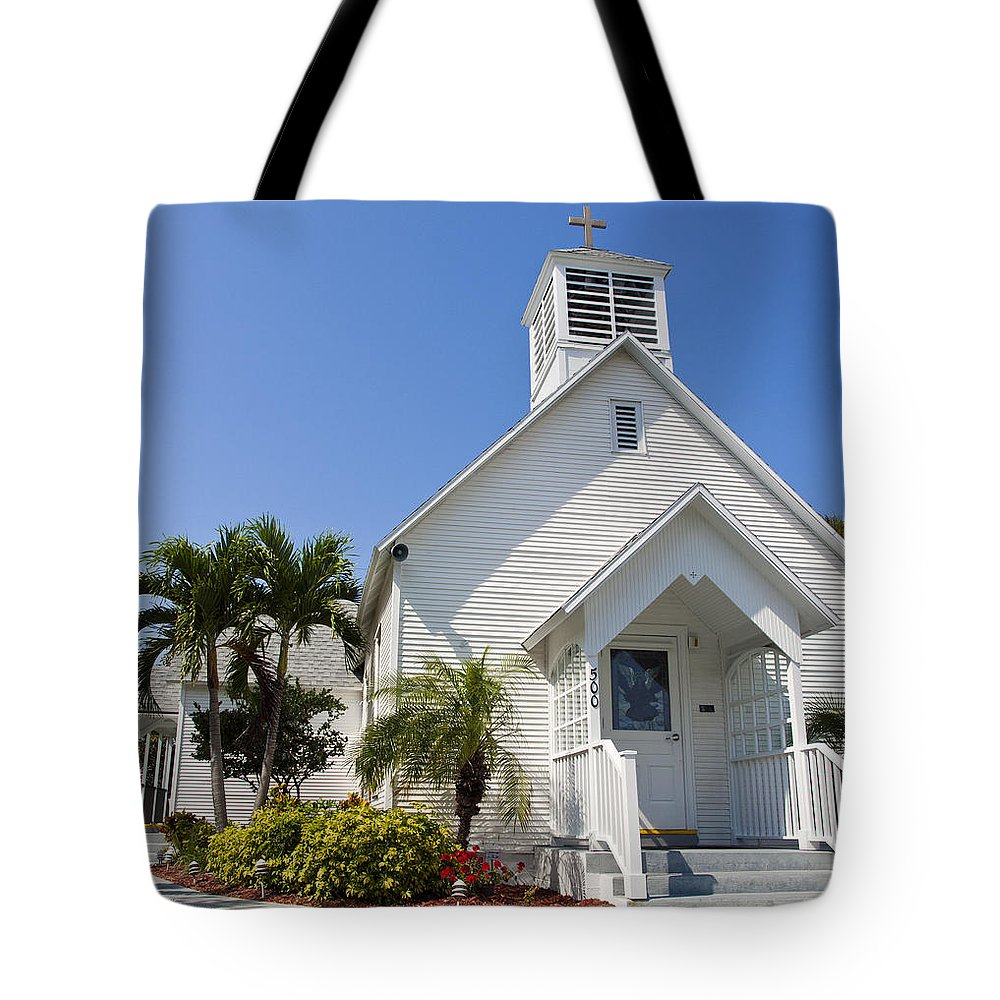 Community Tote Bag featuring the photograph The Community Chapel Of Melbourne Beach Florida by Allan Hughes