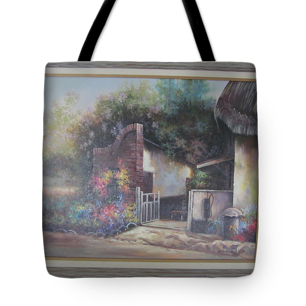 Oil On Canvas Tote Bag featuring the painting The Gate by Tina M Wenger