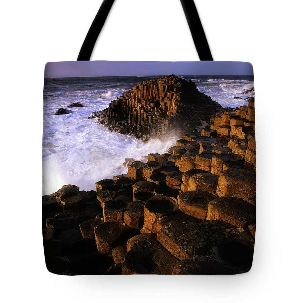 Atlantic Tote Bag featuring the photograph The Giants Causeway, County Antrim by The Irish Image Collection
