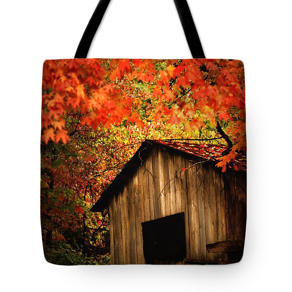 Wood Shed Tote Bag featuring the photograph The Wood Shed by Randall Branham