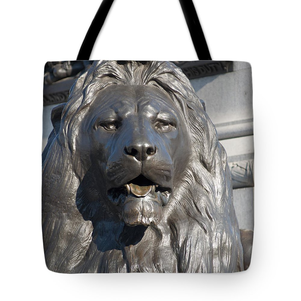 2011 Tote Bag featuring the photograph Trafalgar Square Lion by Andrew Michael
