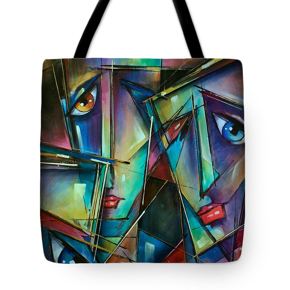 Portrait Tote Bag featuring the painting Trio by Michael Lang