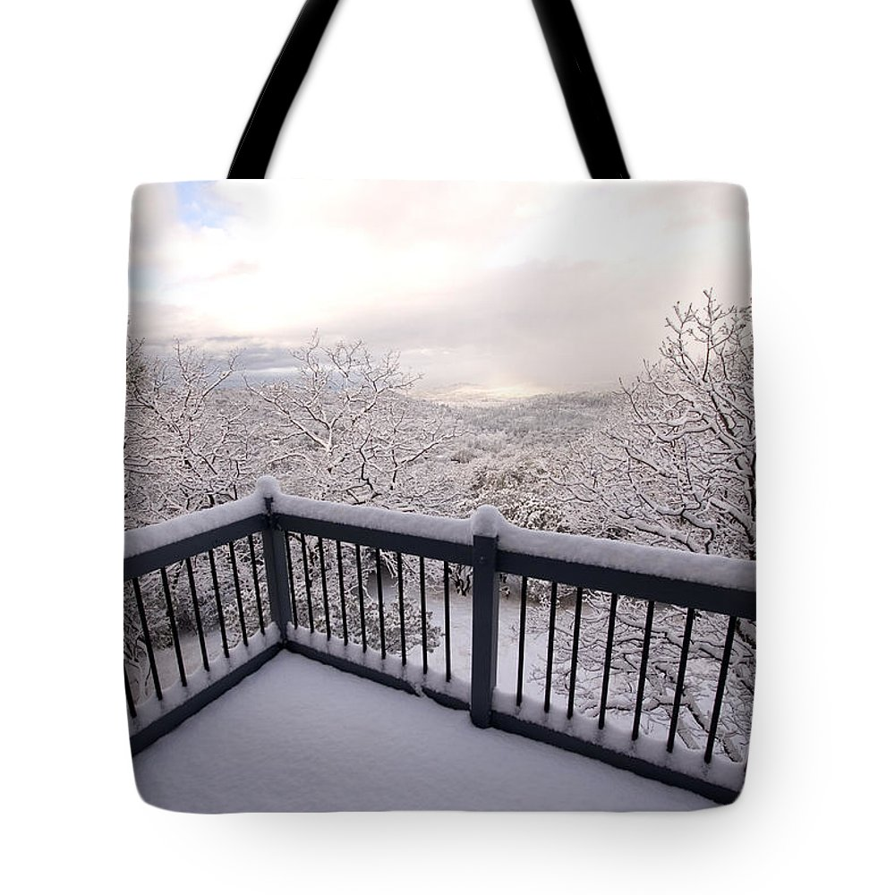 Nobody Tote Bag featuring the photograph View From A Deck After A Recent Snow by Phil Schermeister