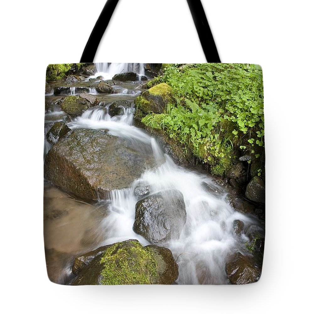 Attractions Tote Bag featuring the photograph Water Cascading Over Rocks, Mount Hood by Craig Tuttle