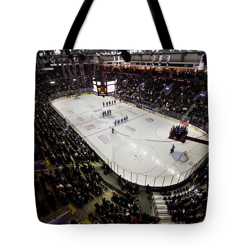 Hockey Tote Bag featuring the photograph Wfcu Centre by Cale Best
