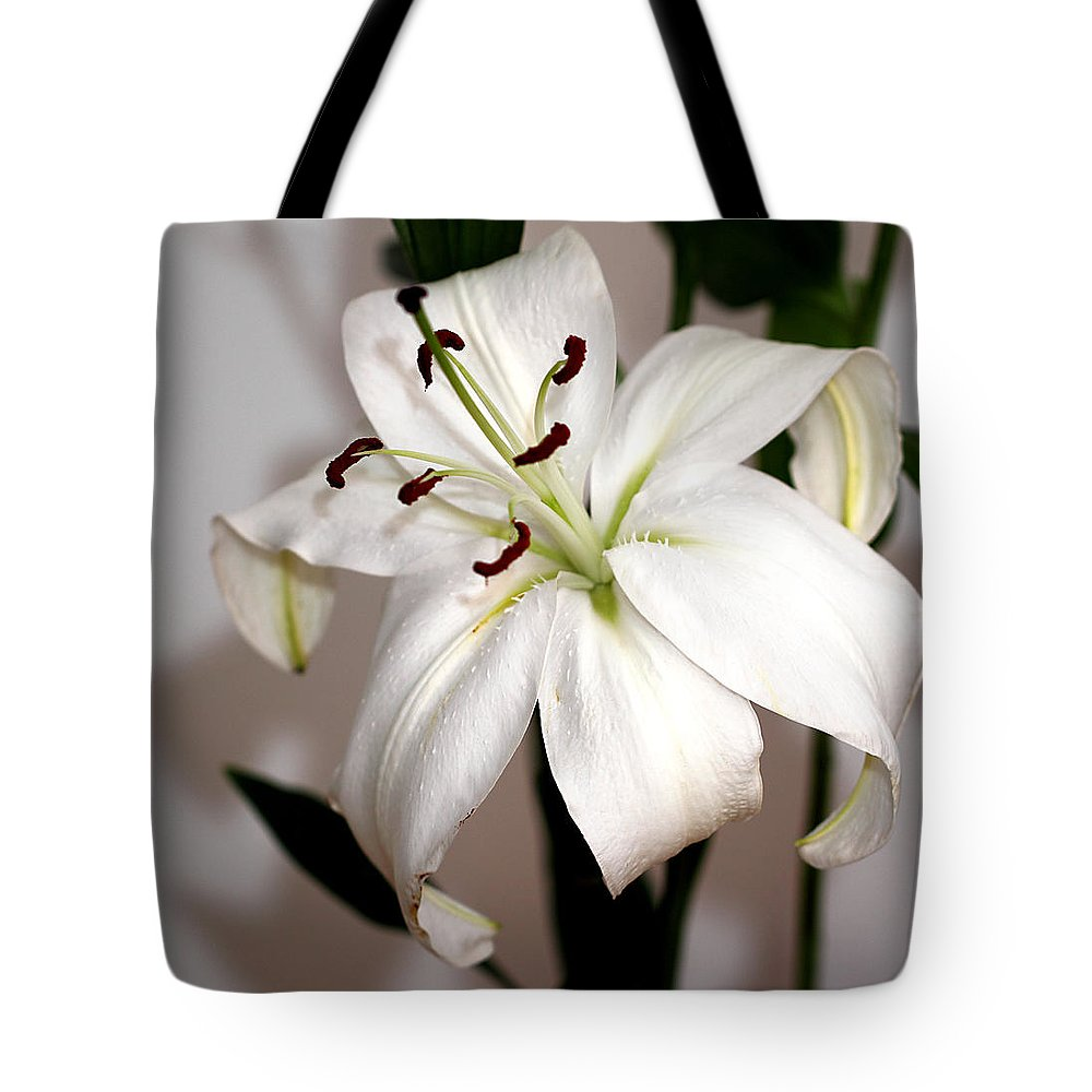 Lily Tote Bag featuring the photograph White Lily In Macro by Carole-Anne Fooks